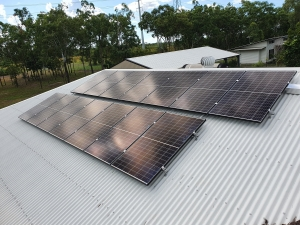 Solar panels installed on a ground level Darwin home